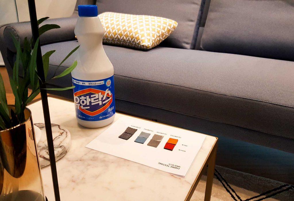 패브릭 소파 기능성 테스트 – 색바램 비교